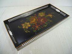 Very Large Antique ToleWare Metal Serving Tray - Vintage Hand Painted Flowers on Pierced Metal Black EnamelWare Centerpiece Display Basket $59.00 by DivineOrders
