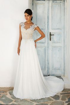 Lace and Chiffon A-Line Gown with Illusion Sabrina Neckline