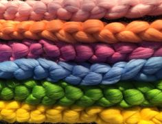 Plush, lovely Combed Top Merino in all colors, weights and varieties available for your spinning, knitting, felting and dyeing needs.