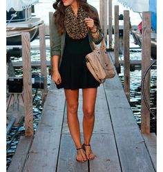 Solid jersey v-neck dress with Leopard Scarf Pair with Our Olive Tencel Button Down to Complete the Look!