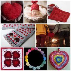 28 knitting and crochet heart patterns.