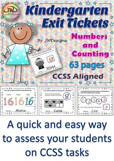 """Exit tickets are a quick and easy assessment tool to see if your students have grasped a concept at the end of a lesson. Each ticket should take less than a minute or two to complete. and is centered around a Common Core State Standard. The """"I Can"""" statement is listed at the top of each ticket. This particular resource focuses on the numbers 1-20 and the counting tasks."""