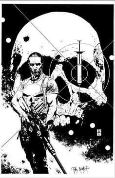 Punisher by Tim Bradstreet. Did you notice in the colour final the needle was removed? #punisher #timbradstreet