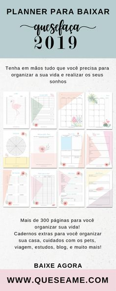 2019 Calendar Printable Planner for Desk or Wall Monday and Sunday