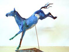 """Blue Horse Landing"" by Wendy Klemperer. Made of coloured wax that was then made into a bronze. The dynamic movement and colour are striking! Horse Sculpture, Sculpture Ideas, Fine Arts Center, Year Of The Horse, Blue Horse, Small Sculptures, Equine Art, Horse Art, Beautiful Artwork"