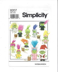 Simplicity 8207 Pattern for Clothes for 6 In. Doll, Elf, Munchkin, Gnome, Troll, From 1992, FACTORY FOLDED, UNCUT, Vintage Pattern, Home Sew by VictorianWardrobe on Etsy