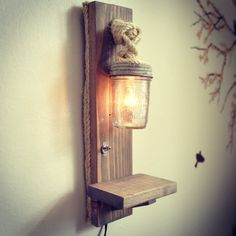 Mason Jar Lamp mounted lamp vintage mason jar by weRcubed on Etsy, $60.00