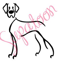 GREAT DANE Decal  natural ear by SUPATOON on Etsy