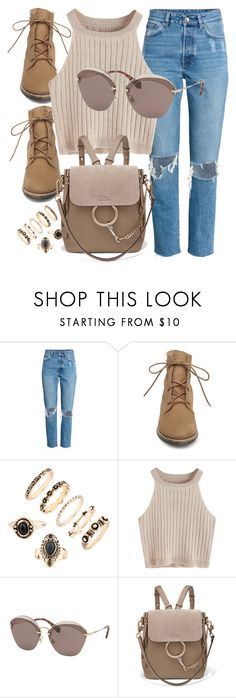 """""""Hills"""" by smartbuyglasses ❤ liked on Polyvore featuring Steve Madden, Miu Miu, Chloé, brown and beige"""