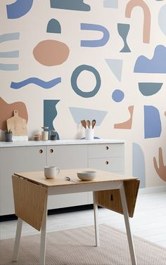 Naive Shapes is a graphic wallpaper collection from MuralsWallpaper that celebrates 150 years since the birth of Henri Matisse. Unusual Wallpaper, Normal Wallpaper, Standard Wallpaper, How To Hang Wallpaper, Graphic Wallpaper, Of Wallpaper, Designer Wallpaper, Design Rustique, Rustic Design