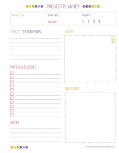 Project Organization Printables - Free Download