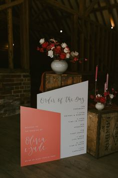 Coral Order of The Day Sign with Pink Flower Decor | By Jasmine Andrews Photo | Pink Wedding Decor | Coral Wedding Decor | Coral Decor Theme | Pink Wedding Bouquet | Pink Flowers for Wedding | Coral Wedding Flowers | Neon Wedding Sign | Wedding Sign | Wedding Decor Coral Wedding Decorations, Coral Wedding Flowers, Flower Decorations, Floral Wedding, Wedding Day, Wedding Colours, Wedding Bouquet, Summer Wedding, Pink Flowers