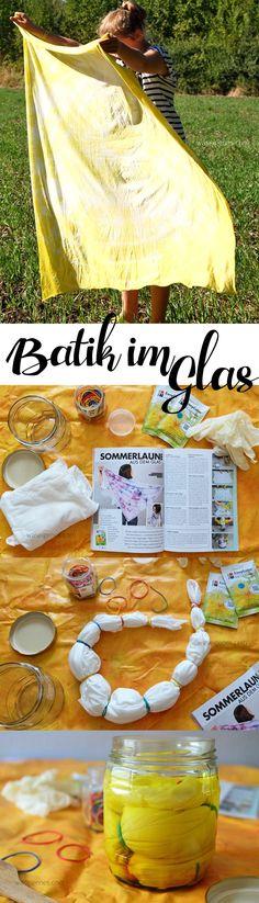 Batik im Glas | schnelle DIY Idee für Halstücher und andere kleinere Stoffstücke | Anleitung auf waseigenes.com | batik | crafts idea | DIY