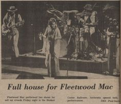 """Check it out...Fleetwood Mac Friday, September 26, 1975 in the Kent State Student Center Ballroom!! This is Fleetwood Mac at the beginning of their first major tour with their then new, and now iconic lineup of Stevie Nicks, Christine McVie, Lindsey Buckingham, Mick Fleetwood and John McVie, supporting their just released album FLEETWOOD MAC which eventually sold 5 million copies.  Classic songs from this album include """"Rhiannon"""", """"Landslide"""" and """"Over My Head""""."""