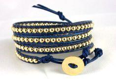 Leather Wrap Bracelet , 14K Gold Bracelet, Any