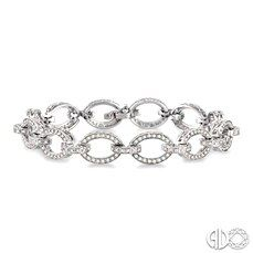1 ½ Ctw Round Cut Diamond Link Tennis Bracelet in 14K White Gold