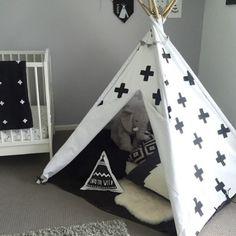 Monochrome nursery featuring a Mocka Black Cross Teepee styed by Mandipops.