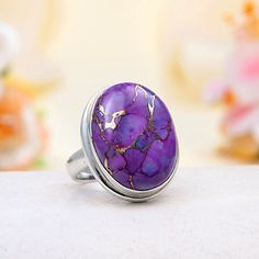 JeGem Sterling Silver Purple Mohave Turquoise Ring