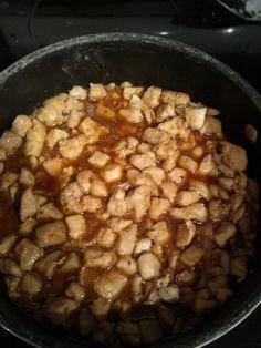 Bourbon chicken  2# chicken  2 garlic cloves  1/4 tsp ginger  1/4 c apple juice  2 TBSP ketchup  1TBSP VINEGAR  1/3 c soy sauce  1/2 c brown sugar  1/2 c water  1/2 tsp red pepper flakes  BROWN CHICKEN, ADD SAUCE, SIMMER FOR 20 MINUTES, ADD 1-2 TBSP CORN STARCH TO THICKEN. SERVE OVER RICE.