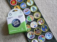 Use Removable Glue Dots to hold badges in place while sewing! Great idea for scout moms and dads.