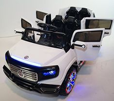 White Heavy Duty Edition 2 Seats Ride on Car with RC - The ultimate Heavy Duty Mercedes SUV Style kids ride on car, 2 Seats with 4 working doors,ThisHeavy Duty Edition Limousine 2 Seats / 4 Doors Kids Ride on Car with RC - The ultimate Heavy Duty
