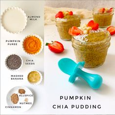 Pumpkin Chia Pudding for Baby, grabease utensils are safe and non toxic, recommended by pediatricians, Chia Pudding, Pumpkin Pudding, Baby Puree, Toddler Meals, Kids Meals, Toddler Food, Pureed Food Recipes, Baby Food Recipes, Healthy Recipes