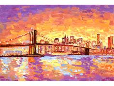 New York City Skyline Brooklyn Bridge Cityscape Art Oil Painting Reproduction Gallery Wrapped Canvas Print