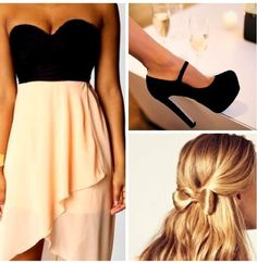 Strapless black top sweetheart neckline, pink skirt,  black pumps
