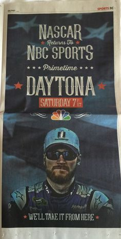 USA Today shows Dale Jr. in full page ad for the return of NASCAR to NBC! July 1, 2016