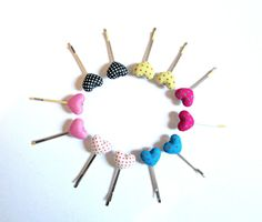 Fabric polka dot heart bobby pin-heart button hair by colorsplashh Fabric Hearts, Heart Button, Baby Headbands, Hair Pins, Bobby Pins, Crochet Necklace, Polka Dots, Buy And Sell, Buttons
