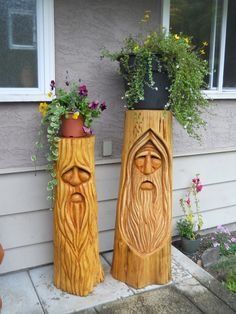 Ideas For Wood Carving Flower Gardens Chainsaw Wood Carving, Wood Carving Faces, Dremel Wood Carving, Wood Carving Patterns, Wood Carving Art, Wood Art, Wood Carvings, Chip Carving, Tree Carving
