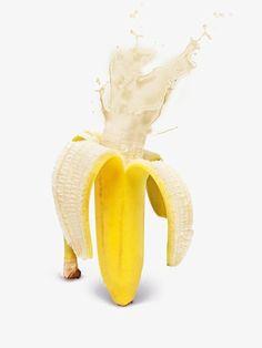 kitsch banana art photo wall poster Fruity Explosions by Design Cartel Banana Art, Banana Milk, Buda Wallpaper, Jugo Natural, Photoshop, Mellow Yellow, Creative Food, Food Design, Photo Manipulation