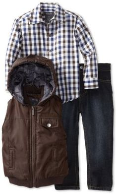 Amazon.com: Kenneth Cole Boys 2-7 Toddler Puffy Vest with Plaid Shirt and Jean, Brown, 3T: Clothing