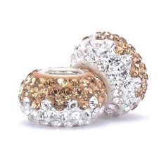 Set of 2 - Bella Fascini Champagne & Clear Half & Half Crystal Pave Sparkle Bling - Solid .925 Sterling Silver Core European Charm Bead Made with Authentic Swarovski Crystals - Compatible Brand Bracelets : Authentic Pandora, Chamilia, Moress, Troll, Ohm, Zable, Biagi, Kay's Charmed Memories, Kohl's, Persona & more! Bella Fascini Beads,http://www.amazon.com/dp/B00ACX8QSI/ref=cm_sw_r_pi_dp_kmW-sb0QG0Z79Q0N