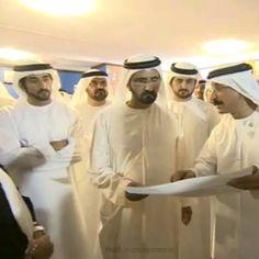 1/27/14 H.H Sheikh Mohammed bin Rashid Al Maktoum, in the presence of H.H Sheikh Hamdan Bin Mohammed Bin Rashid Almaktoum listens to a brief from H.E Sultan Ahmed Bin Sulayem about the Terminal 3 at Jebel Ali port in Dubai, the total investment costs of $850 million. @hhshkmohd @Francisca Faz ________________________ emoji️Source: Www.sheikhmo