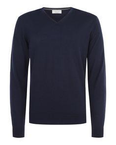 Extrafine merino v-neck (Mendes) - Knitwear at Nigel Hall #nigelhall #menswear
