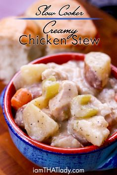 Slow Cooker Creamy Chicken Stew Looking for something easy, cheap and super filling for dinner? This crockpot chicken stew will satisfy EVERYONE in your family! Slow Cooker Chicken Stew, Slow Cooker Creamy Chicken, Stew Chicken Recipe, Crock Pot Slow Cooker, Crock Pot Cooking, Chicken Recipes, Cooking Recipes, Crockpot Meals, Dump Recipes