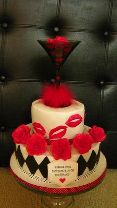 A special cake for a special friend on his birthday. Kisses for Patrick. The topper is a Lolita Martini glass, I added a red gumpaste rose inside the glass. Beautiful Wedding Cakes, Beautiful Cakes, 70th Birthday Cake, Birthday Ideas, Fashionista Cake, Adult Cake Smash, Fab Cakes, Take The Cake, Specialty Cakes