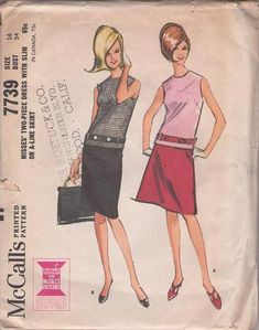 MOMSPatterns Vintage Sewing Patterns - McCall's 7739 Vintage 60's Sewing Pattern SNAZZY Mod Mad Men 2 Piece Day Dress, Slim or A-Line Skirt, Top with Belt Carriers & Button Belt Size 14 1960s Fashion, Fashion Models, Vintage Fashion, Fashion Tips, Vintage Style, 1960s Style, Mccalls Sewing Patterns, Vintage Sewing Patterns, 60s Patterns