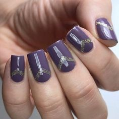 Darker or brighter purple color can be nicely combined with silver glittery nail polish - #nailartgalleries #nail #art #galleries