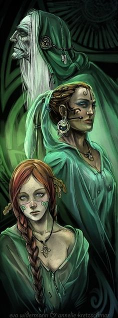 The Norns - Norse - govern fate, Urd - what has been, Verdandi - what is, Skuld - what is to come. They spin the threads and weave the tapestry of fate for each person's life. The length of the thread is the life span, even the Gods have their own threads but they are hidden. Everything is predetermined by destiny.