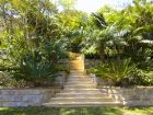 sandstone stairs and tropical plants