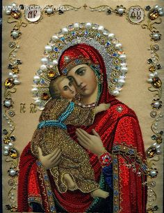 Our Lady Son New Full Area Highlight Diamond Needlework Diy Diamond Painting Kit Diamond Cross Stitch Embroidery Religious Images, Religious Icons, Religious Art, Religious Paintings, Blessed Mother Mary, Blessed Virgin Mary, Church Icon, Religion, Queen Of Heaven