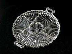 Depression Glass 6 Part Clear Relish Tray with Handles Vintage 1940s GORGEOUS Serving Plate