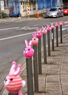 What do you do when you find a gang of pink bunnies in the garden? Take them on a road trip to Nuremberg, of course!