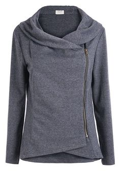 Dark Grey Long Sleeve Asymmetric Zip Outerwear - This looks really comfortable, yet it has a very interesting and stylish look. Look Fashion, Fashion Outfits, Womens Fashion, Fashion Black, Fashion Site, Fast Fashion, Fashion Online, Fashion Beauty, Mode Ab 50