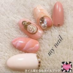 ネイル デザイン 画像 1368557 オレンジ ピンク ホワイト タイダイ ビジュー 春 チップ ハンド ミディアム