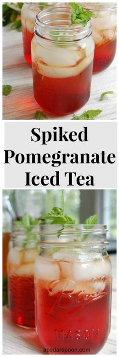 Spiked Pomegranate Iced Tea takes your favorite summer iced tea and adds PAMA Pomegranate Liqueur vodka and fresh mint to create a refreshing summer cocktail that you can sip at your next backyard festivities. // A Cedar Spoon #ad