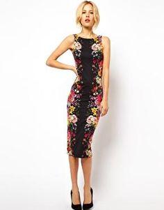 Club L | Vestido ajustado a media pierna con diseño estampado de Club L en ASOS