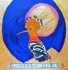 Gold leaf and acrylic on canvas African Hoopoe  :   Scientific Name :   Upupa epops (Population decreasing)  Sacred bird of the Pharoah  - Symbolises Gratitude Gold Leaf, Gratitude, African, Paintings, Bird, Canvas, Be Grateful, Tela, Paint